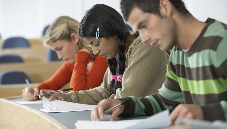 Three Students Taking a Test