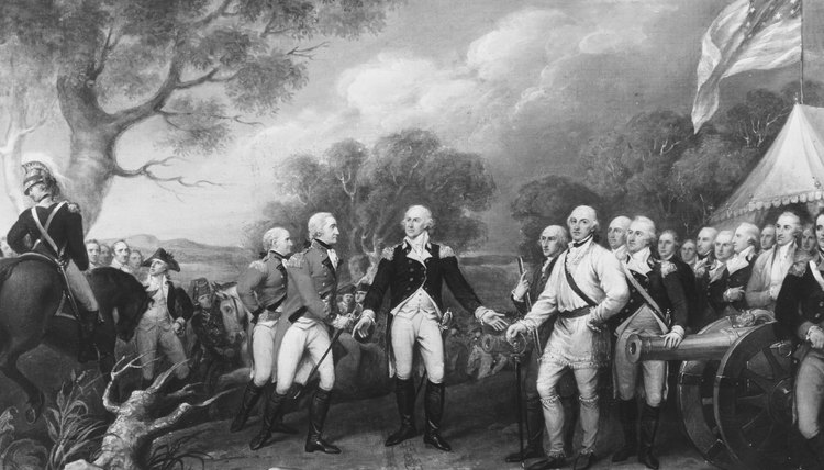 Gen. John Burgoyne surrenders to the Americans after the battle of Saratoga.