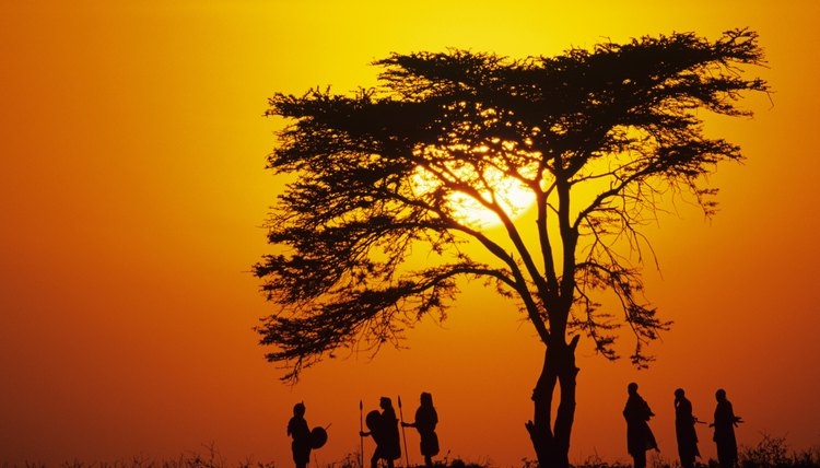 Tribesmen stand in an African sunset.