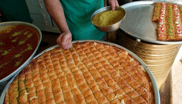 Pastries such as  baklava and halvah are common desserts baked for Muslim funerals.