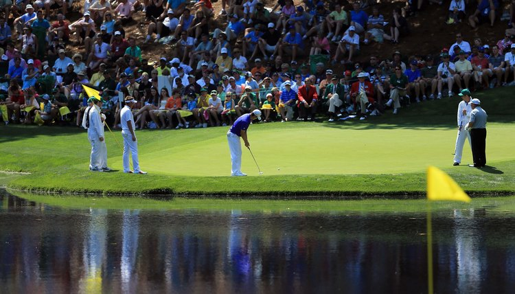 Justin Rose putts during the 2012 Masters Par 3 Contest.