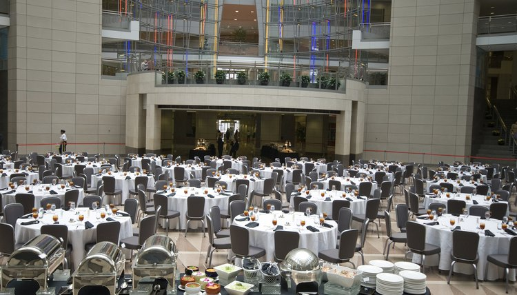 A convention room is set and ready for attendees.