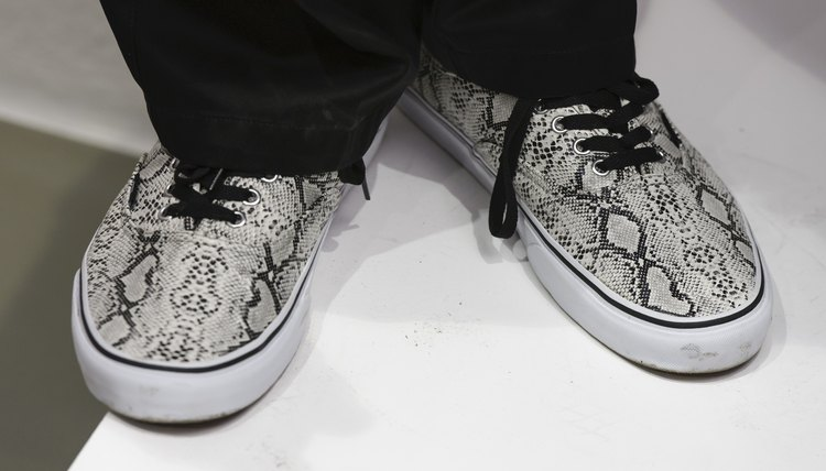 Vans in a bold animal pattern pair well with more dressed-up or polished outfits.