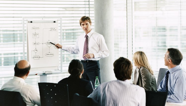 Businessman Giving a Presentation Using a Flip Chart