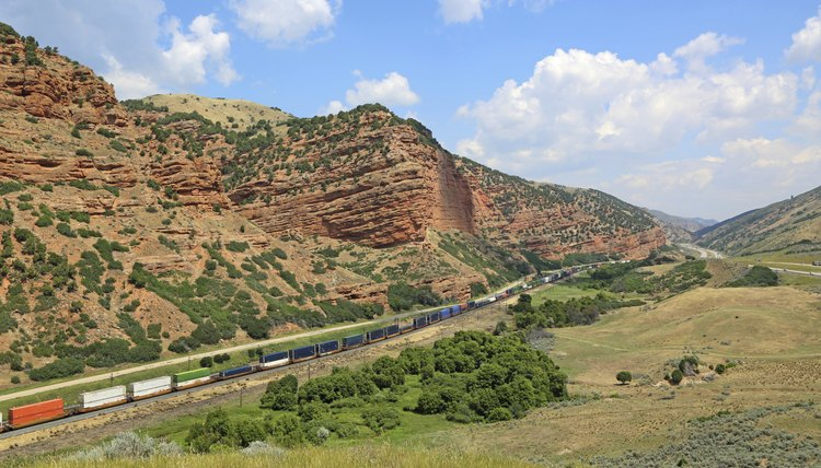Train tracks running through a canyon in Utah.