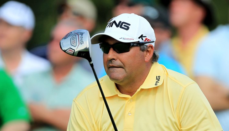 Angel Cabrera watches a tee shot hit with his Ping driver during the 2011 Masters.
