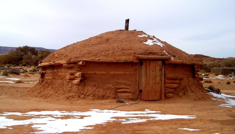 A Navajo Hogan during the winter time.