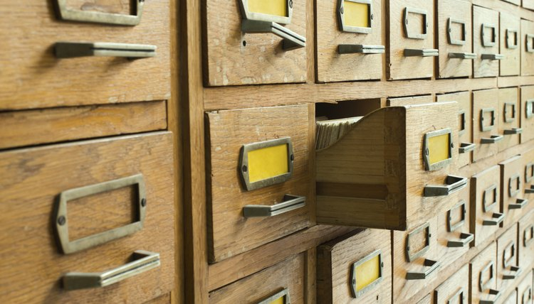 Old fashioned card catalog system
