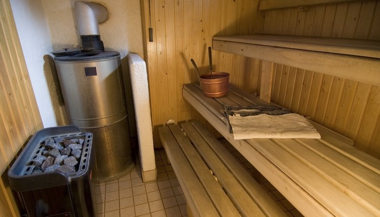 A typical Finnish sauna with two stoves