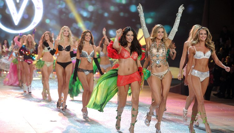 Victoria's Secret models on the runway.