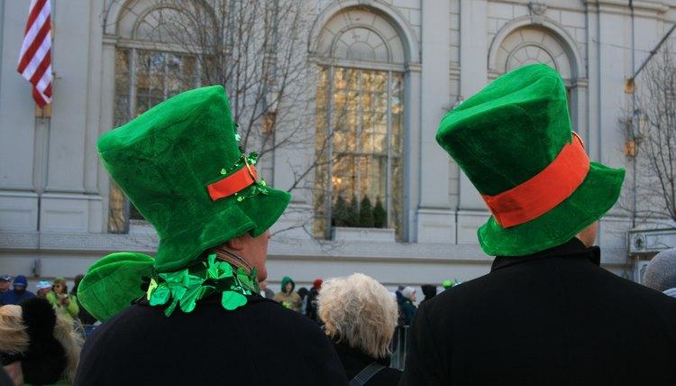 People wearing leprechaun hats.