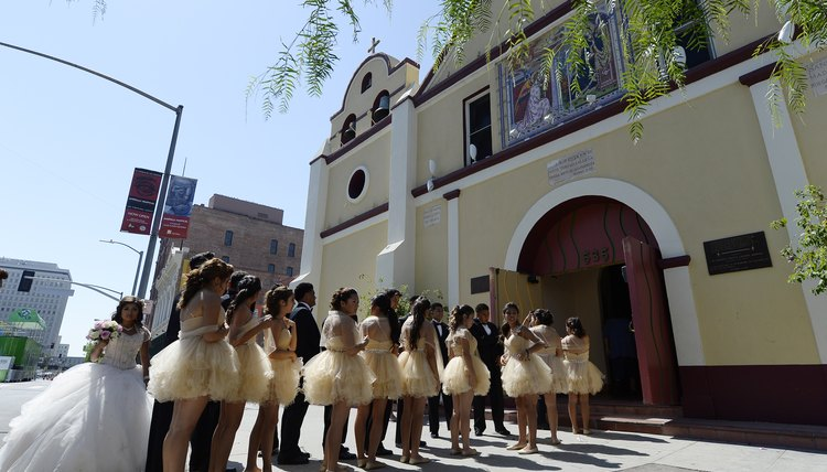 Quinceanera celebrations outside cathedral in Los Angeles, CA.