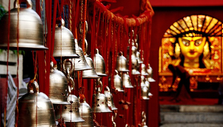 Bells hang in a Hindu temple.