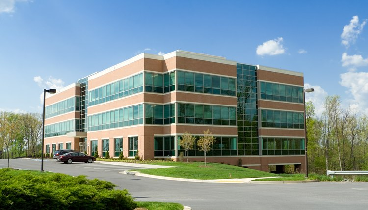 Modern Cube Shaped Office Building, Parking Lot, Suburban Maryland, USA