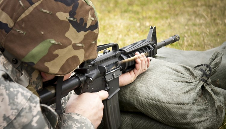 A soldier on a firing range.
