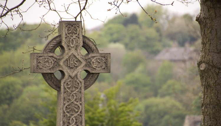 A Celtic cross in a cemetary in Ireland.