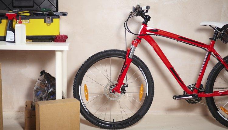 A mountain bike in a garage