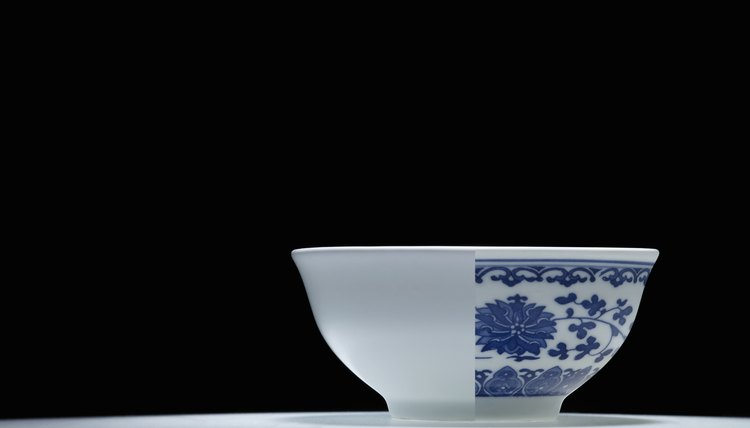 White and blue China bowl.