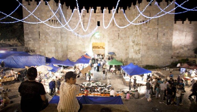 Lights adorn East Jerusalem during Eid al-Fitr.