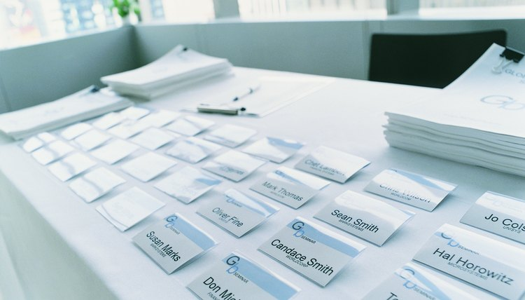 Name Tags on a Conference Table
