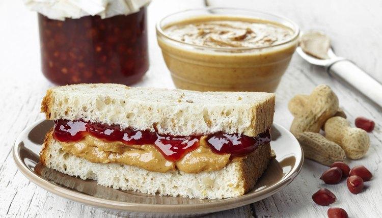 Peanut butter and strawberry jam sandwich.