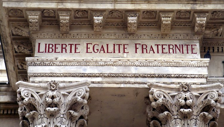 Slogan of the French Revolution.