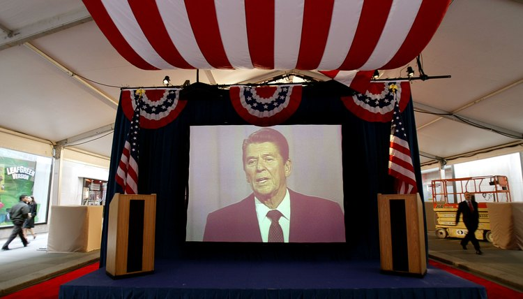 Projection of President Ronald Reagan during a Presidential election debate