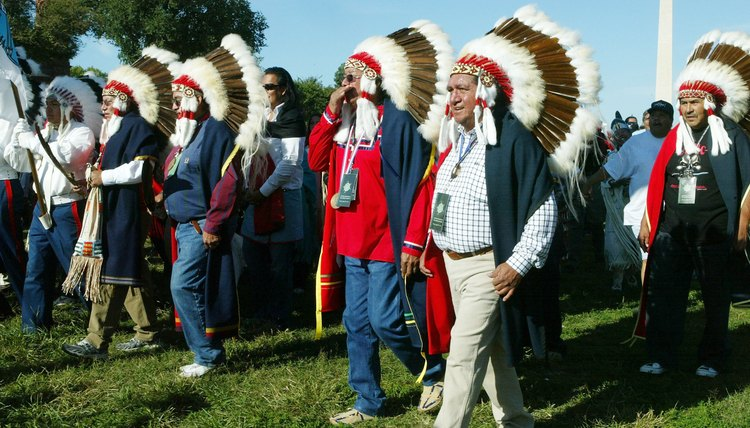 Participants celebrating the opening ceremonies at a Native Nations event.