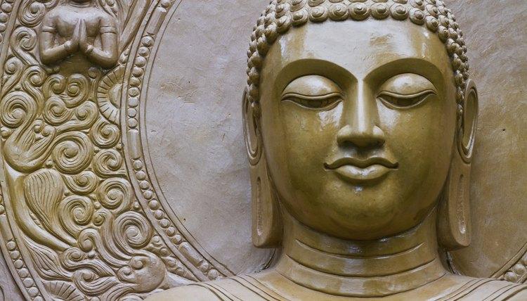 A close-up of a Buddhist statue.