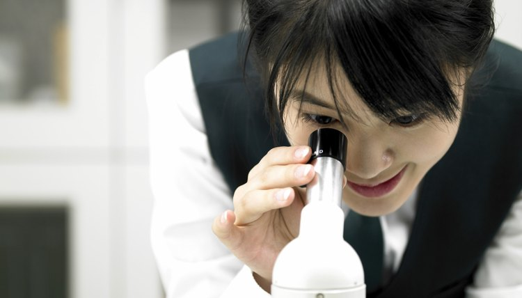 Student looking through microscope in science lab.