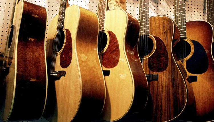 Acoustic guitars on display