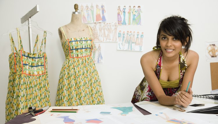 Indian female fashion designer in workshop