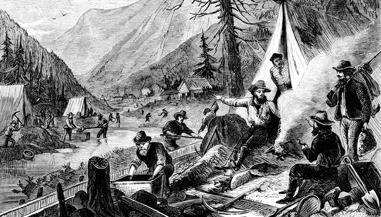 Black and white illustration of the gold rush.
