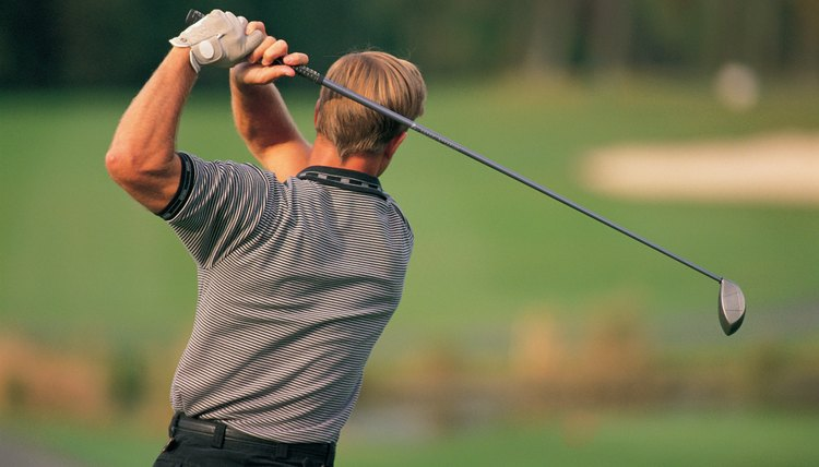 The followthrough of the golf swing can put strain on the lower back with its twisting.