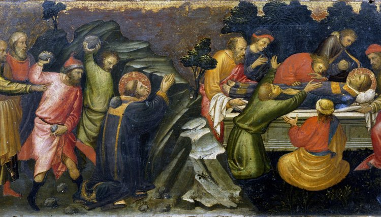 Killling and burial of St. Stephen.