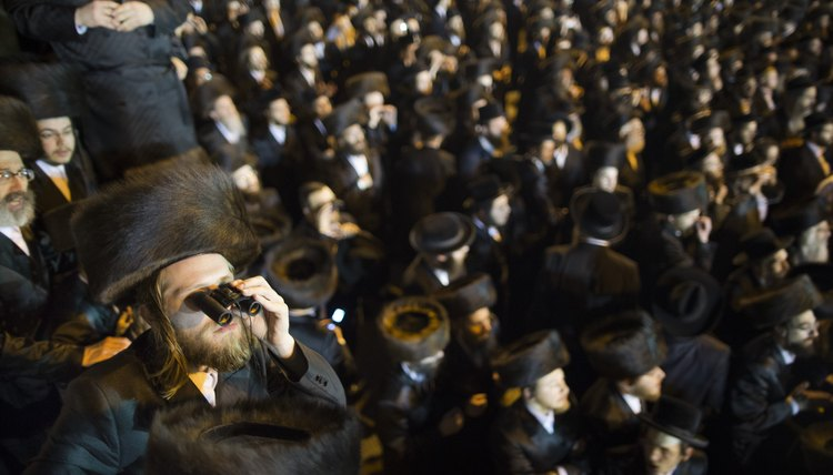 Orthodox Jews celebrate a wedding.