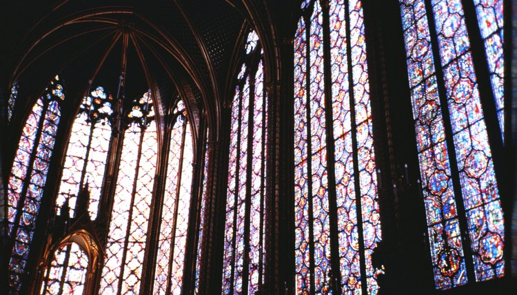 Stained glass church interior
