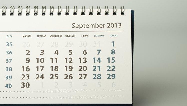 A close-up of a calendar page.