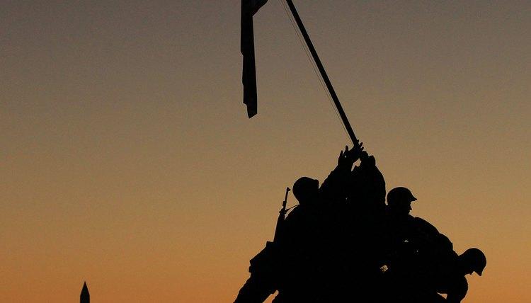 The iconic Iwo Jima Memorial commemorates U.S. Marine courage in the eastern theater of World War II.