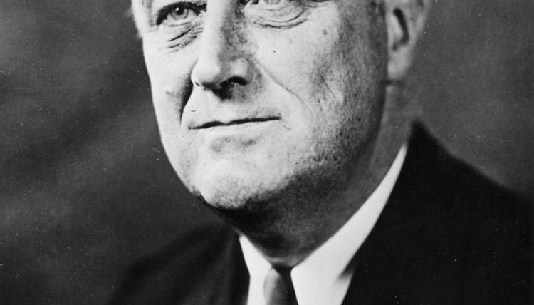 An old black and white photo of President Franklin Delano Roosevelt