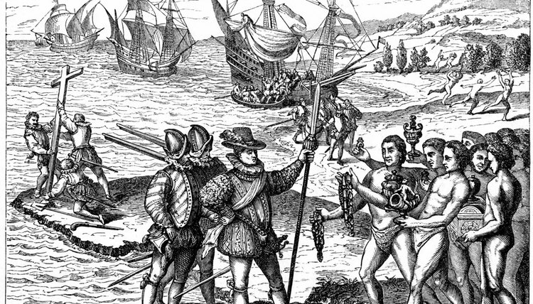 After a long voyage across the Atlantic ocean, Columbus and his crew initiated trade with the indigenous American population