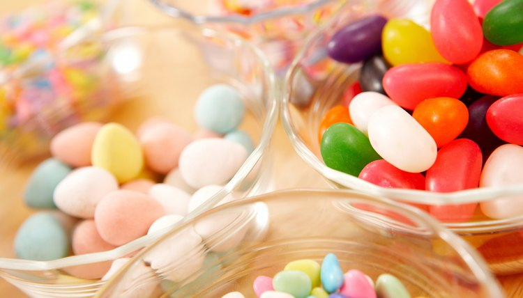 Bowls with jelly beans and other candies