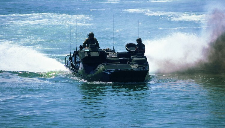 Photo, soldiers on an amphibious vehicle in the water, Color, Low res