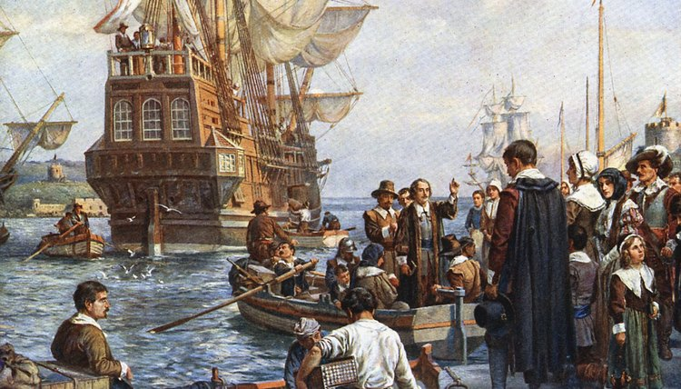 Pilgrims set out for the New World on the Mayflower in 1620.