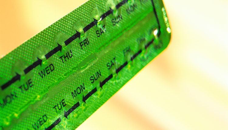 close-up of a strip of birth control pills