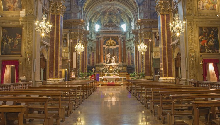 Interior of an ornate Catholic church