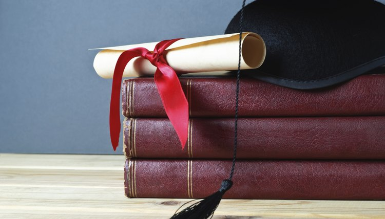 Graduation Mortarboard, Scroll and Books