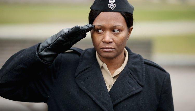 Saluting military woman