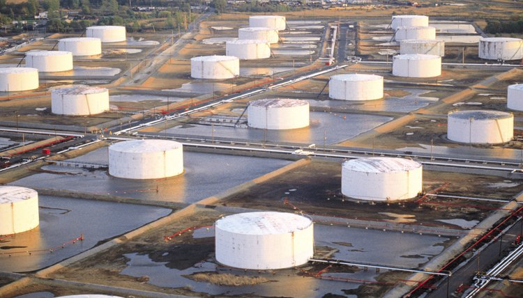 Oil storage tanks at refinery
