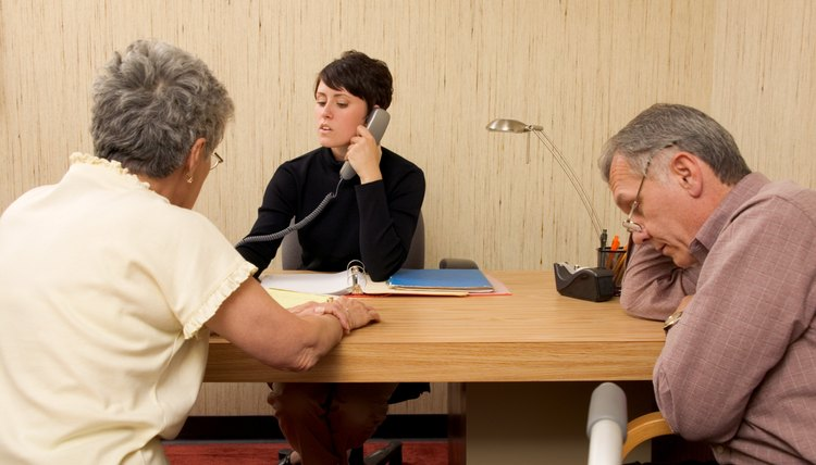 Aging, elderly couple with counselor